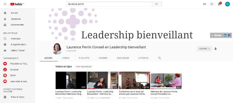 Chaine Youtube, Leadership bienveillant, Laurence Perrin